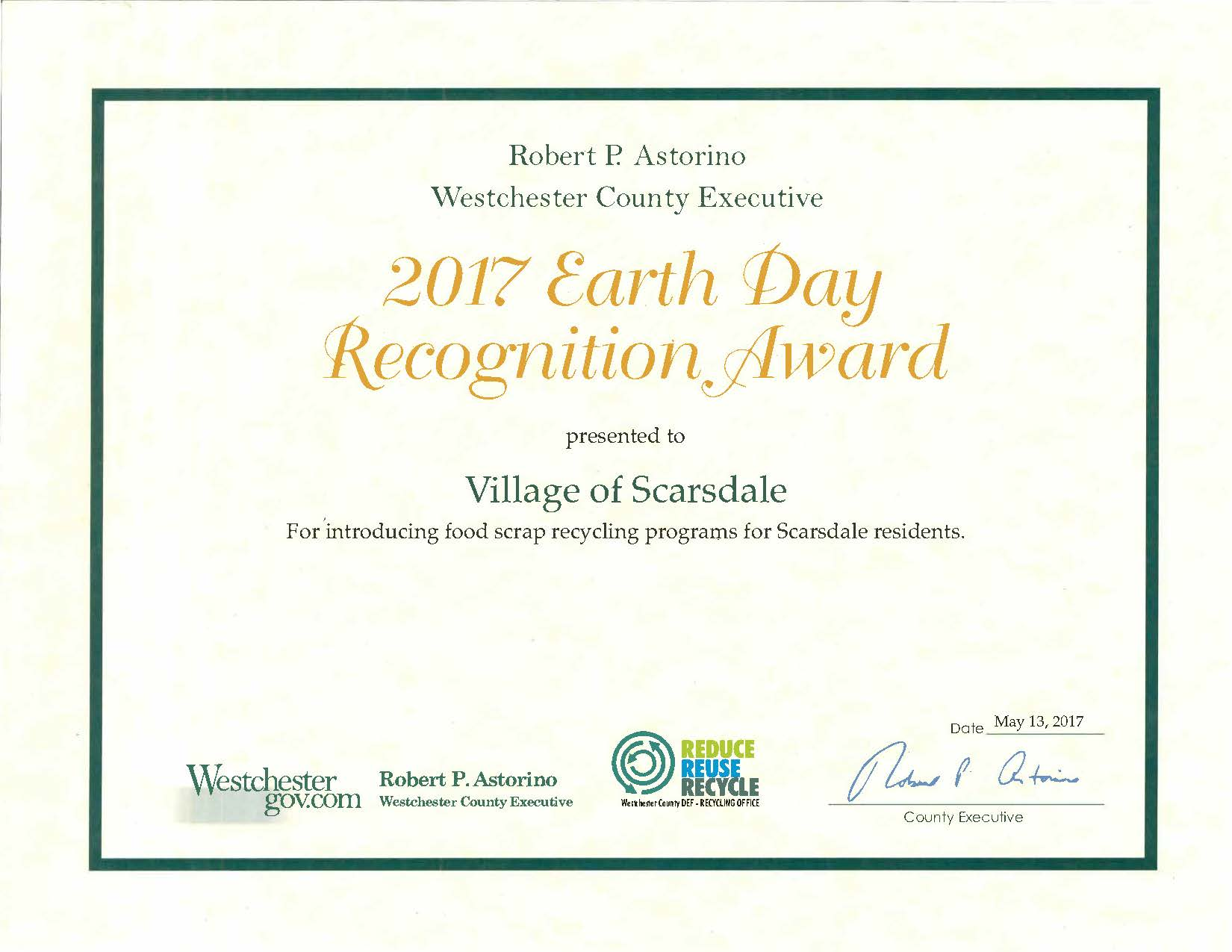 2017 Earth Day Award - Food Scrap Recycling