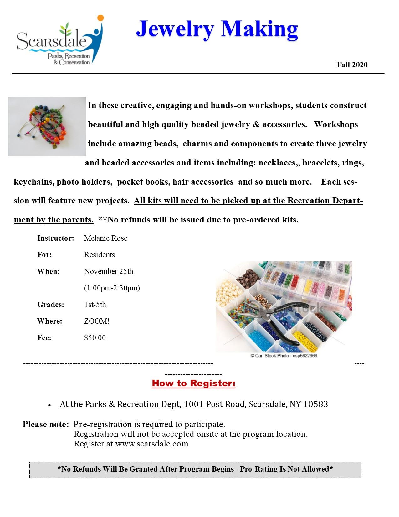 Jewelry Making Flyer - Fall 2020 ZOOM 11252020